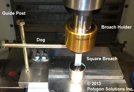 Alignment broaching dog for flat bottom blind holes